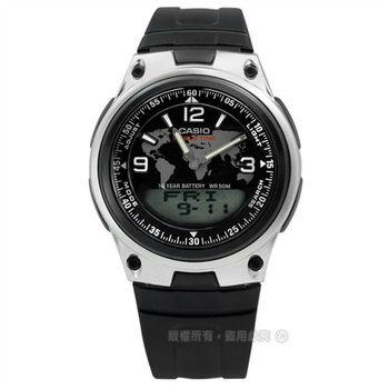 CASIO / AW-80-1A2 / 卡西歐世界地圖設計鬧鈴雙顯橡膠腕錶 黑x銀框 40mm