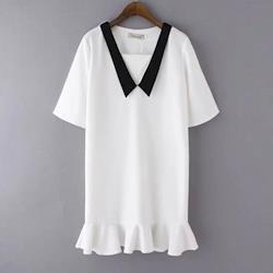 BubbleCoCo大V領黑白撞色荷葉裙擺短袖洋裝EA368現+預