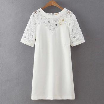 Bubble❤CoCo 圓形簍空蕾絲後拉鍊短袖洋裝EA367現+預