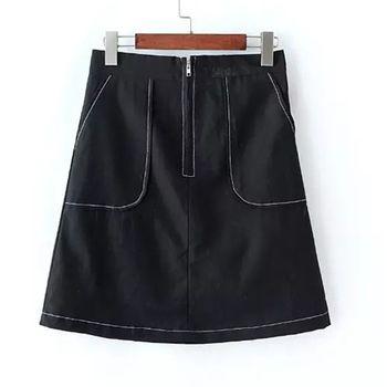 Bubble❤CoCo 黑白純色拉鍊大口袋A字短裙EA366現+預