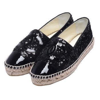 CHANEL經典Espadrilles漆皮小香LOGO亮片厚底鉛筆鞋(黑_37)