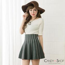 Candy小舖 高腰線型針織傘東森購物 大閘蟹狀短裙