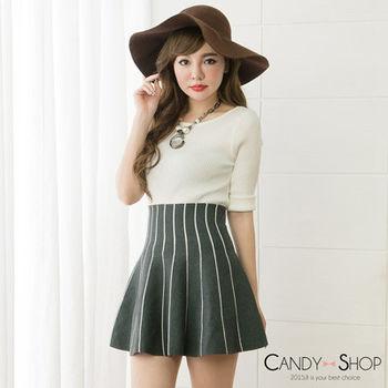 Candy小舖 高腰線型針織傘狀短裙