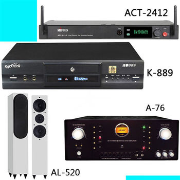 美華 K-889 PLUS版 伴唱機+Dicose A-76+Polestar AL-520白+MIPRO ACT-2412