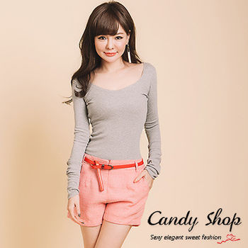 Candy小舖 素色大V領薄針織長版上衣 4色選