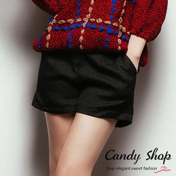 Candy小舖 氣質素面前拉鍊摺線西裝短褲(預購+現貨) 2 色選