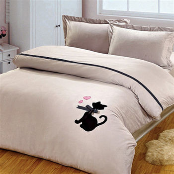 RODERLY 珊瑚絨 雙人四件式 被套床包組-尊貴貓-灰