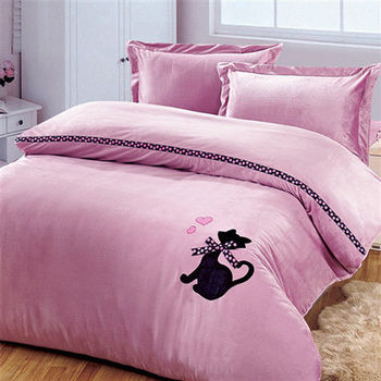 RODERLY 珊瑚絨 加大四件式 被套床包組-尊貴貓-粉