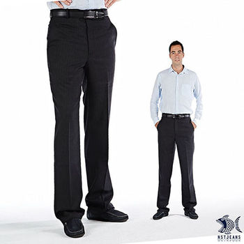 【NST Jeans】391(6912) 極簡黑條紋 羊毛x彈性纖維 西裝褲(中腰)平面/無打摺/年輕款式/斜口袋
