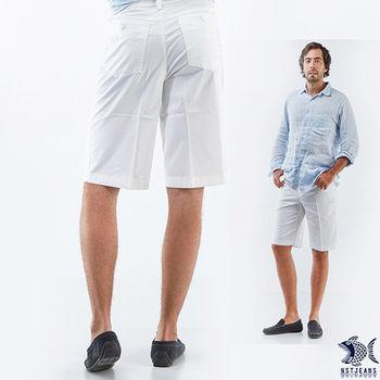 【NST Jeans】395(25797) 白色時尚俐落型男休閒短褲(中腰)
