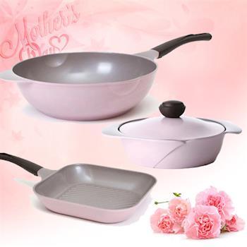 ★【韓國Chef Topf】玫瑰/薔薇鍋LA ROSE系列粉紅3件組(炒鍋+平底鍋+湯鍋)