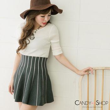 Candy小舖 美背緞帶蝴蝶結針織七分袖上衣 3色選