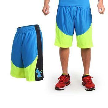 【UNDER ARMOUR】UA 男 HG MONEY12吋籃球短褲 -運動 寶藍螢光黃 腰帶附可調式拉繩