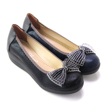 【Pretty】典雅朵結緞帶楔型厚底包鞋-藍色、黑色