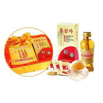 韓國金蔘伴手禮盒組-紅蔘茶包(30入/盒)+紅蔘糖(90gX2盒)+人蔘精華液(3入/盒)