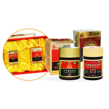 韓國金蔘伴手禮盒組-高麗紅蔘精(50g/罐)+紅蔘粉(60g/罐)