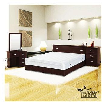 《亞珈珞》3M防潑水六件式房間組(床頭+床底+化妝臺+椅+獨立筒+床頭櫃)