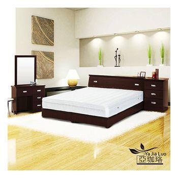 《亞珈珞》天然乳膠六件式房間組(床頭+床底+化妝臺+椅+獨立筒+床頭櫃)4色可選