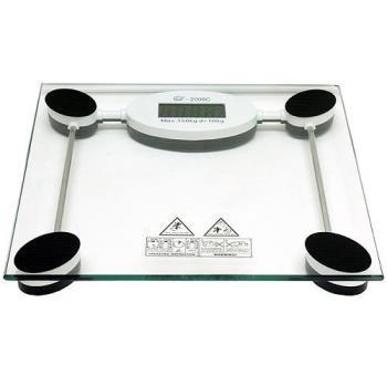 黑白方型150公斤鋼化玻璃體重計2008C