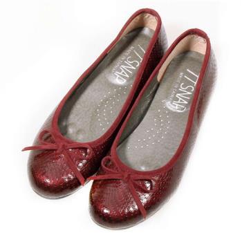 TTSNAP娃娃鞋-MIT動物紋麟片感真皮軟Q平底鞋-古典酒紅