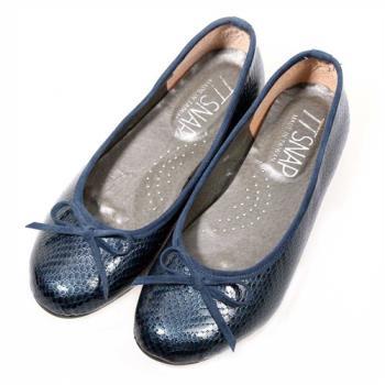 TTSNAP娃娃鞋-MIT動物紋麟片感真皮軟Q平底鞋-優雅藍