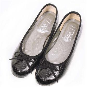 TTSNAP娃娃鞋-MIT動物紋麟片感真皮軟Q平底鞋-百搭黑