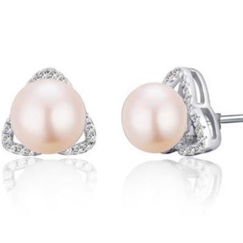 【米蘭精品】925純銀耳環珍珠耳飾三角造型