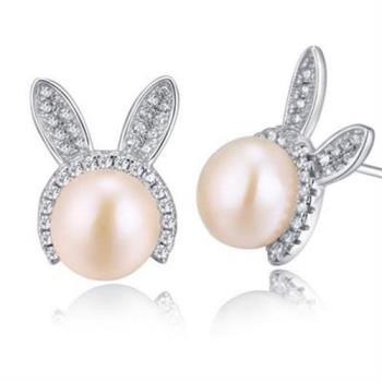 【米蘭精品】925純銀耳環珍珠耳飾兔子童話