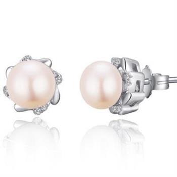 【米蘭精品】925純銀耳環珍珠耳飾花朵造型