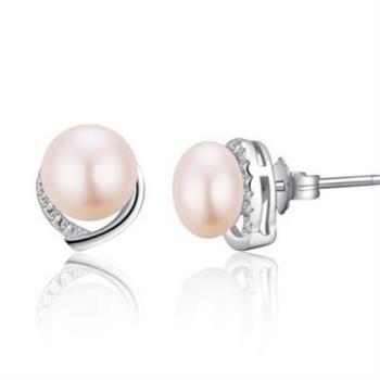 【米蘭精品】925純銀耳環珍珠耳飾鑲鑽優雅高貴