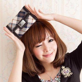 【金安德森】女款-學院時尚優質亮麗藍格紋款-釦式中夾