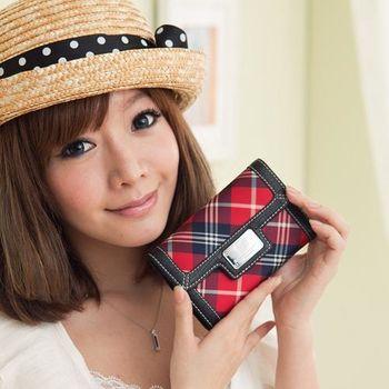 【金安德森】女款-學院時尚 優質亮麗紅格紋款-釦式中夾