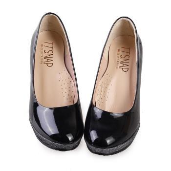 TTSNAP高跟鞋-MIT全真皮防水台小圓頭軟Q華麗跟鞋-經典黑