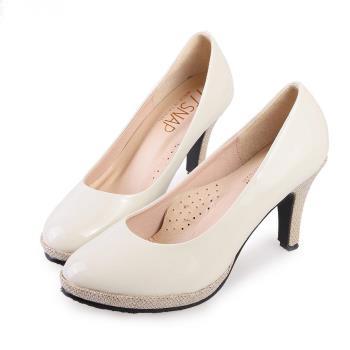 TTSNAP高跟鞋-MIT全真皮防水台小圓頭軟Q華麗跟鞋-粉嫩米