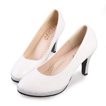 TTSNAP高跟鞋-MIT全真皮防水台小圓頭軟Q華麗跟鞋-優雅白