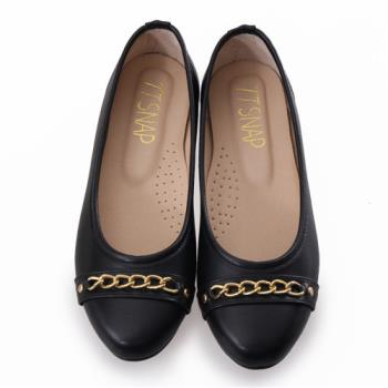 TTSNAP娃娃鞋-MIT金屬飾鍊圓頭真皮平底鞋-經典黑