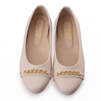 TTSNAP娃娃鞋-MIT金屬飾鍊圓頭真皮平底鞋-優雅米