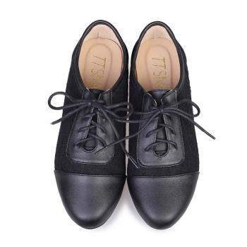 TTSNAP牛津鞋-MIT真皮蕾絲緹花平底鞋-經典黑