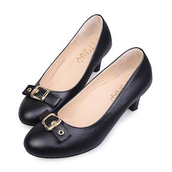 TTSNAP中跟鞋-MIT典雅皮帶飾釦真皮軟Q跟鞋-經典黑