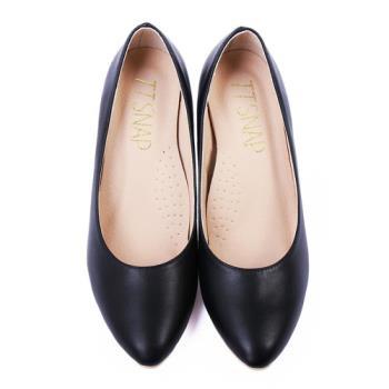TTSNAP 高跟鞋-MIT時尚小尖頭真皮軟Q跟鞋-經典黑