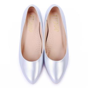 TTSNAP 高跟鞋-MIT時尚小尖頭真皮軟Q跟鞋-時尚銀