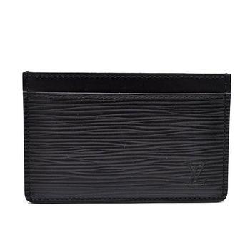 LV M63512 EPI 水波紋皮革信用卡名片夾.黑_預購