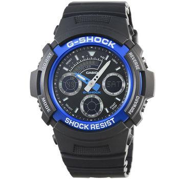 CASIO 卡西歐G-SHOCK 雙顯鬧鈴電子錶-黑藍 / AW-591-2A