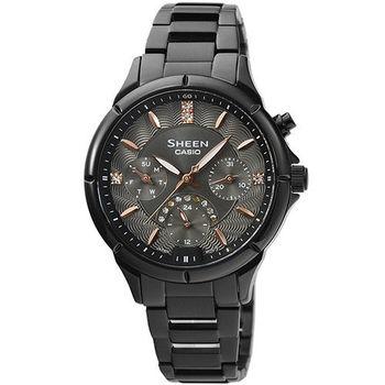 CASIO 卡西歐 SHEEN 三環時尚錶-IP黑 / SHE-3047B-1A