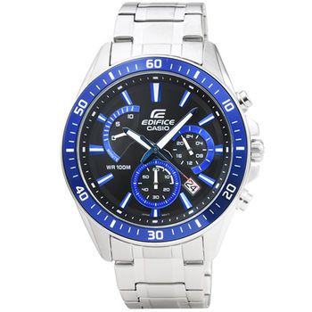 CASIO 卡西歐EDIFICE大錶徑三眼計時錶-藍 / EFR-552D-1A2