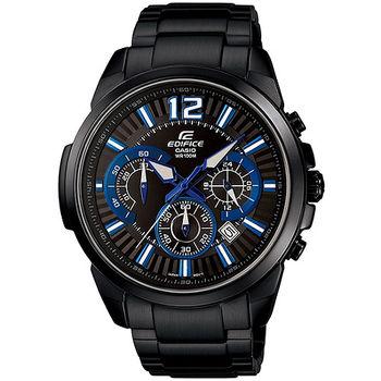 CASIO EDIFICE 疾黑酷客碼表計時賽車錶-藍x黑(EFR-535BK-1A2)