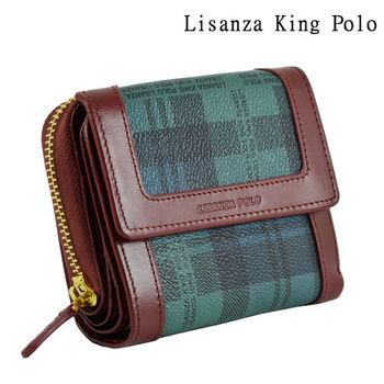 【Lisanza King Polo】格紋短式多用皮夾-綠格