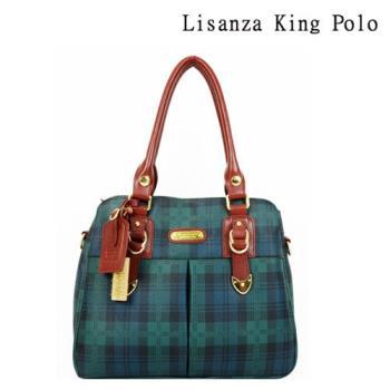 【Lisanza King Polo】 格紋牛皮多層兩用包