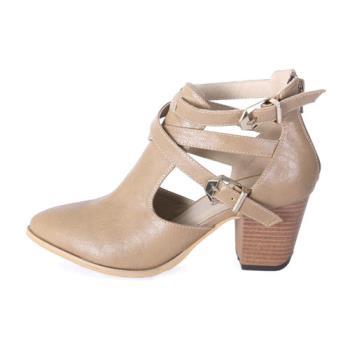 TTSNAP短靴-歐美雙釦環鏤空小尖頭粗跟踝靴-優雅杏
