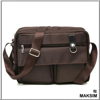 MAKSIM 都會搖滾潮流雙口袋側背包可放A4(1168咖)